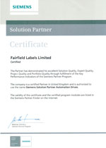 SIEMENS SOLUTION PARTNER CERTIFICATE